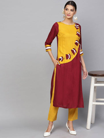 Yellow & Maroon Colour Printed Colour Make To Order Kurti/Tunic