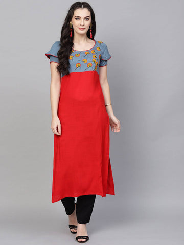 Grey & Red Colour Printed Colour Make To Order Kurti/Tunic