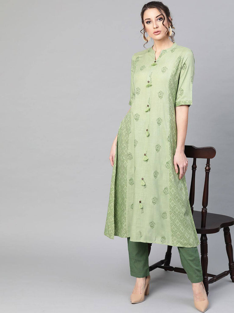Mint Green A-Line Kurta