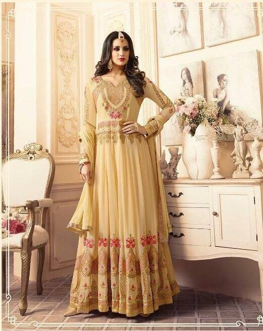 Beige Wedding Embroidered Suit-www.riafashions.com