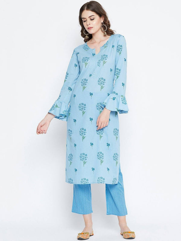 Blue Printed Kurta With Trousers
