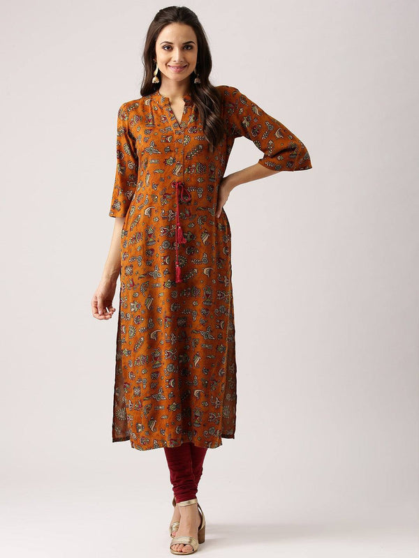 Brown Cotton Printed Kurti-www.riafashions.com