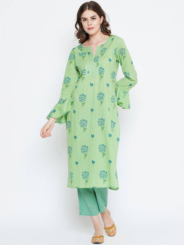 Pista Green Printed Kurta With Trousers