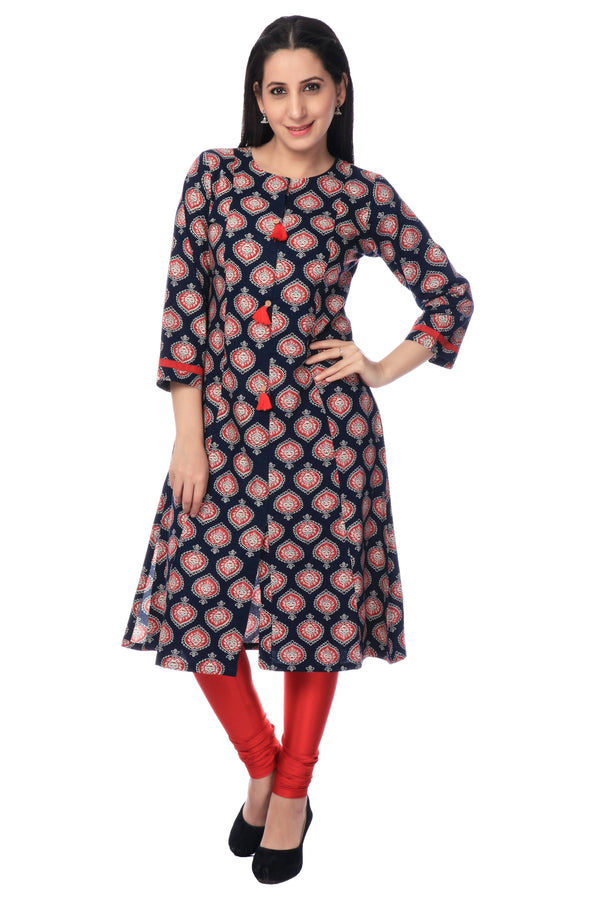 Navy Blue and Red Cotton Printed Kurti-www.riafashions.com