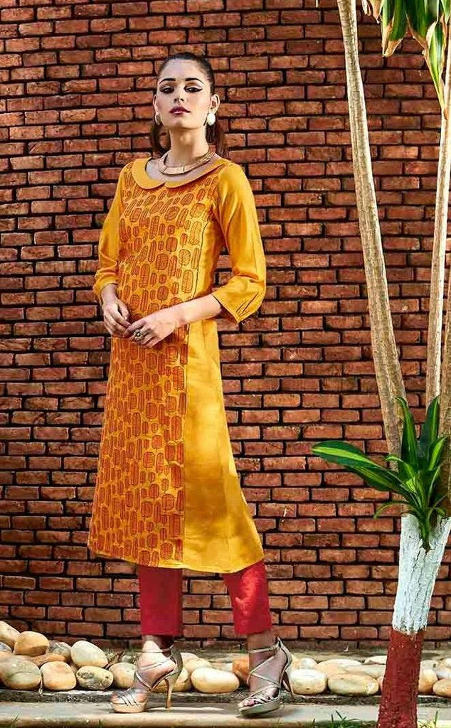 Mustard Long Designer Cotton Tunic-www.riafashions.com