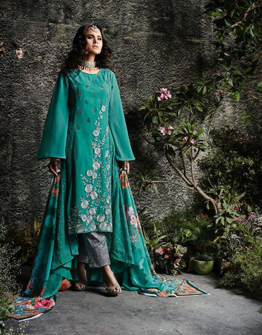 Aqua Embroidered Salwar Suit-www.riafashions.com