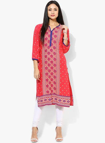 Red Printed Kurta-www.riafashions.com