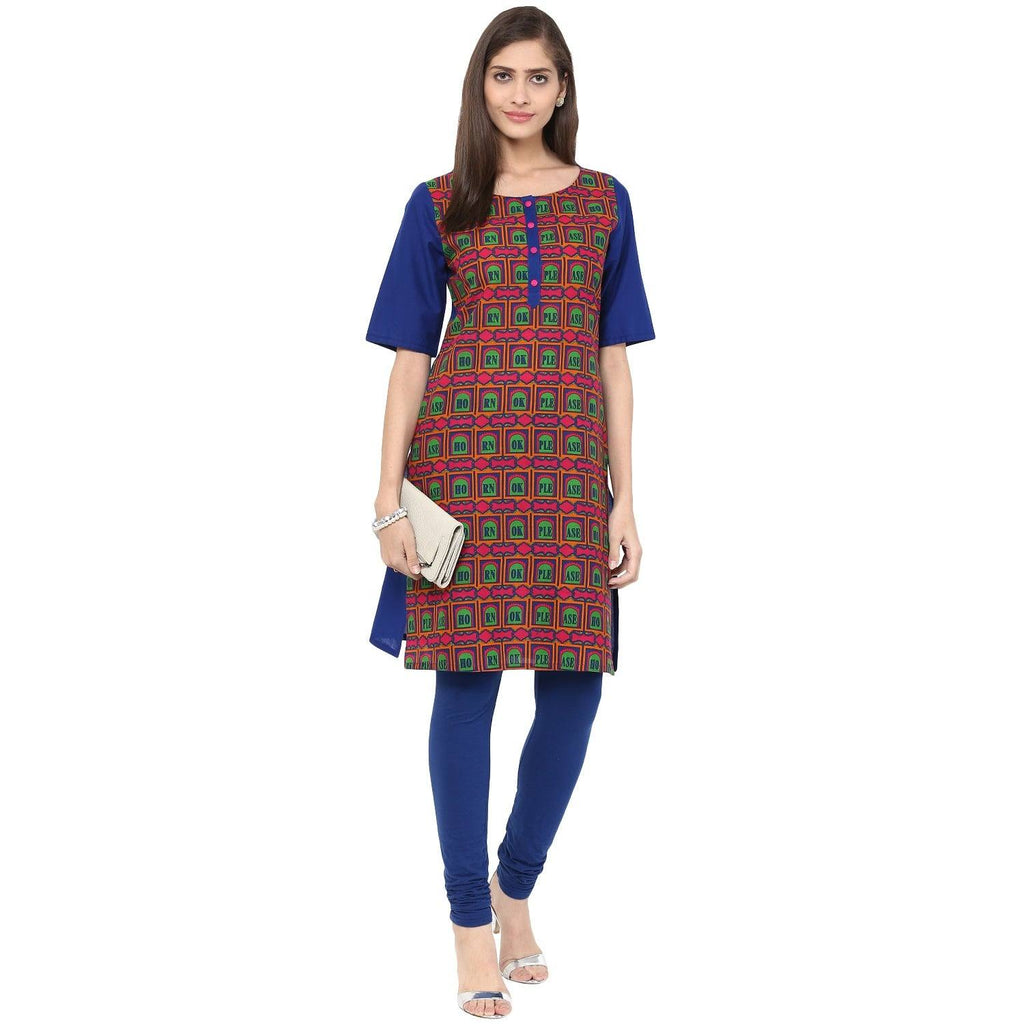 Blue Printed Cotton Tunic-www.riafashions.com