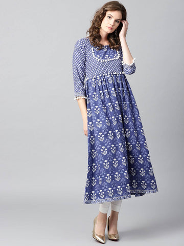 Blue Printed Cotton Kurti-www.riafashions.com