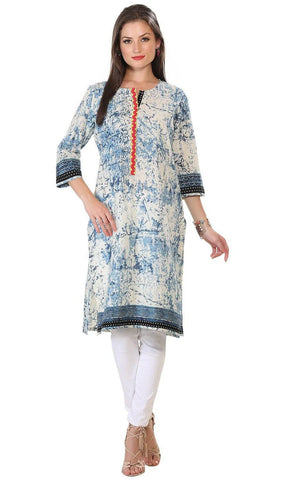 Blue Abstract Pattern Long Kurti Tunic-www.riafashions.com