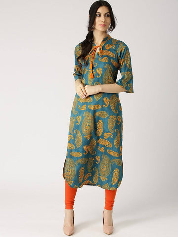 Blue and Yellow Printed Kurti-www.riafashions.com