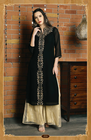 Embroidered Georgette Kurta-www.riafashions.com