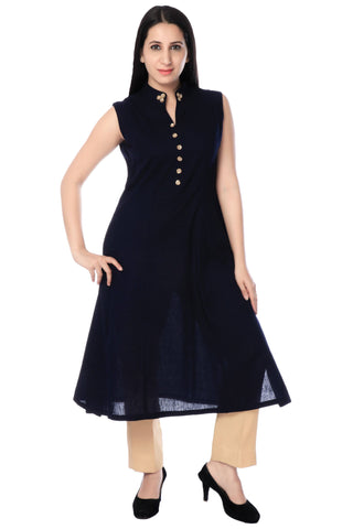 Black Cotton Silk Kurta With Plazzo-www.riafashions.com