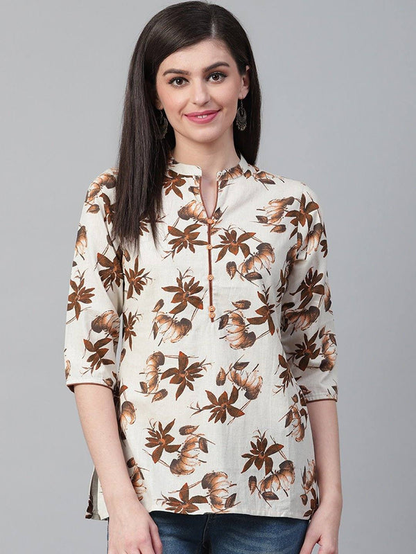 Off-White & Brown Floral Print Tunic