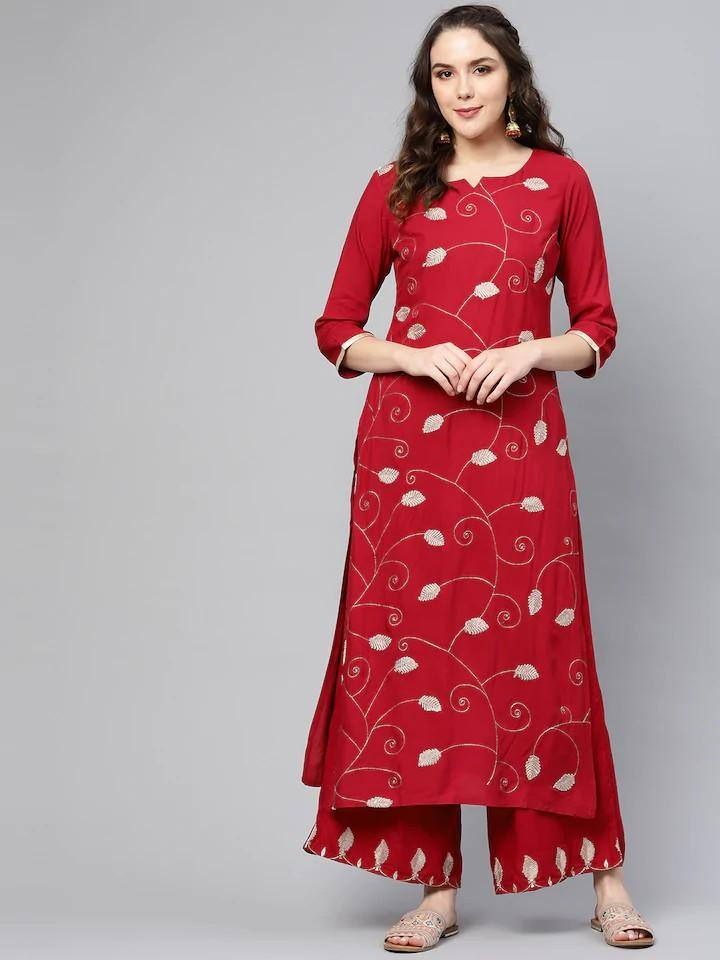 Red & Golden Embroidered Kurta with Palazzo