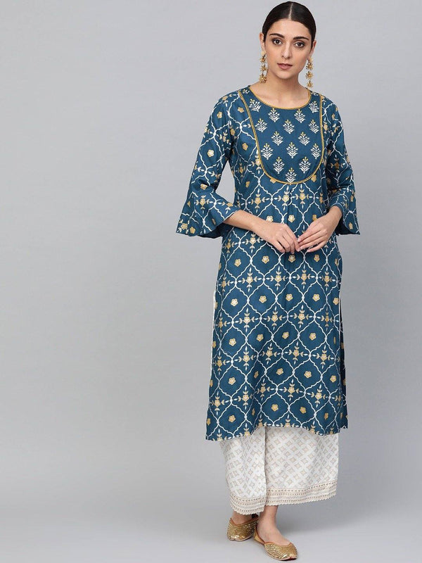 Teal Blue & White Printed Kurta with Palazzos