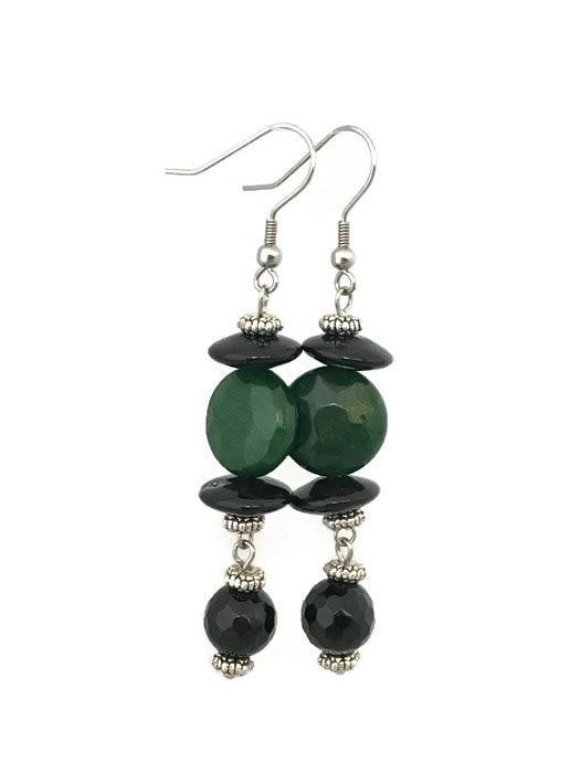 Green / Black Onyx Drop Earrings-www.riafashions.com