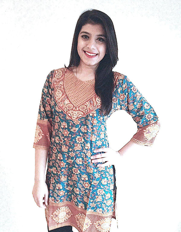 Readymade French Crepe Kalamkari Indian Kurti / Tunic