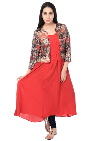 Red Rayon Tunic With Cotton Multicolor Jacket-www.riafashions.com