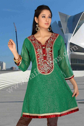 Georgette Kurti with embroidered yoke