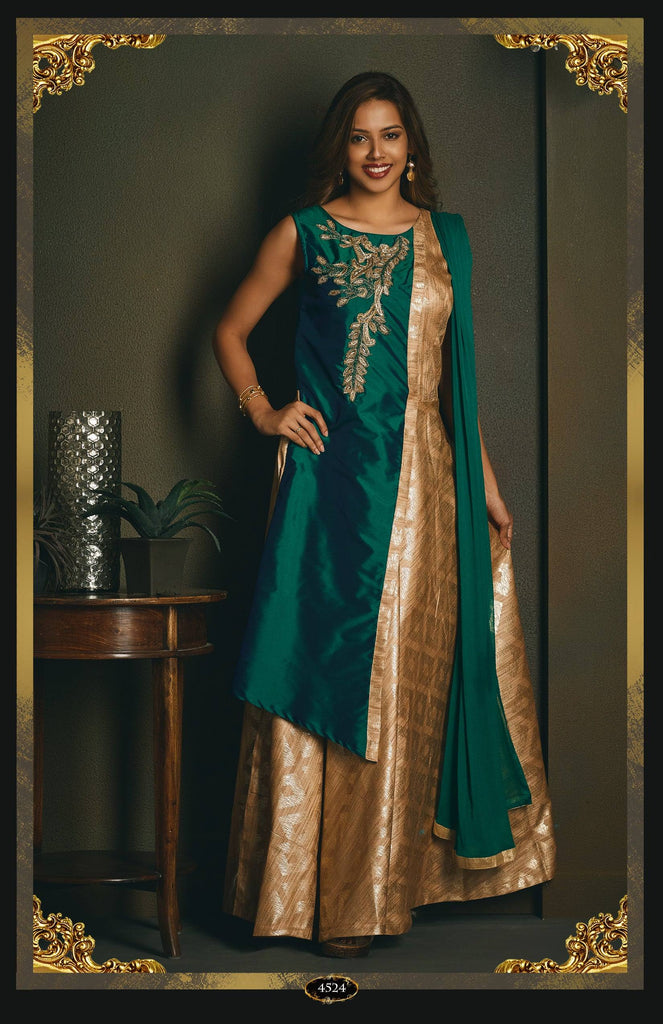 Silk Anarkali Suit with embroidery.-www.riafashions.com
