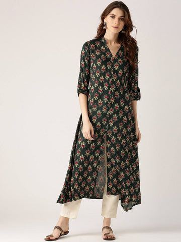 Green Printed Cotton Kurti-www.riafashions.com