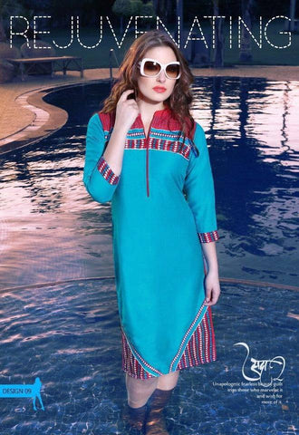 Blue and Red Cotton Blend Tunic-www.riafashions.com