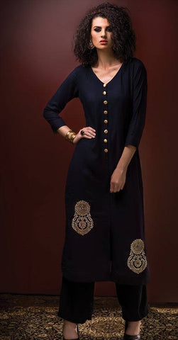 Blue Embroidered Rayon Tunic-www.riafashions.com