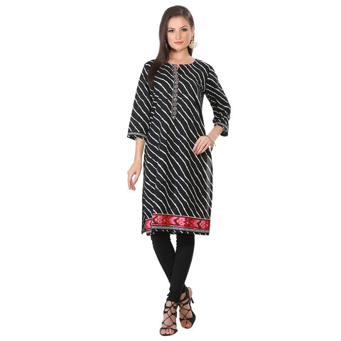 Black Embroidered Cotton Long Kurta Kurti-www.riafashions.com