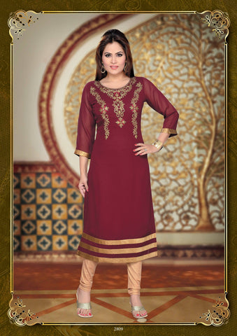 Maroon Party Wear Tunic-www.riafashions.com