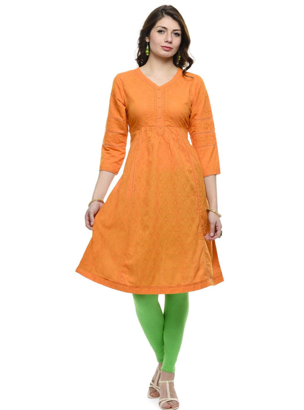 Orange Cotton Kurti-www.riafashions.com