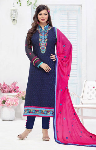 Blue Embroidered Salwar Suit-www.riafashions.com