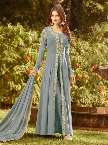Grey Split Front Salwar Suit
