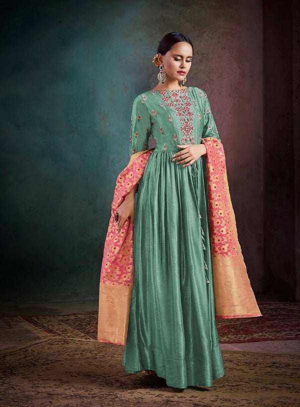 Green Embroidered Palazzo Suit Set