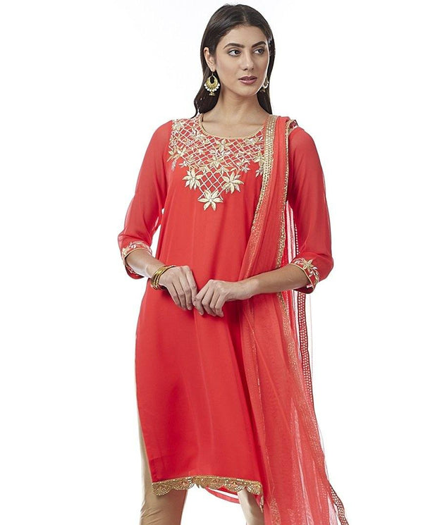 Orange Georgette Kurti - www.riafashions.com