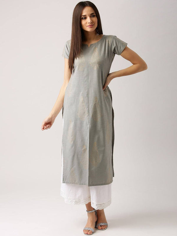 Grey Cotton Kurti-www.riafashions.com