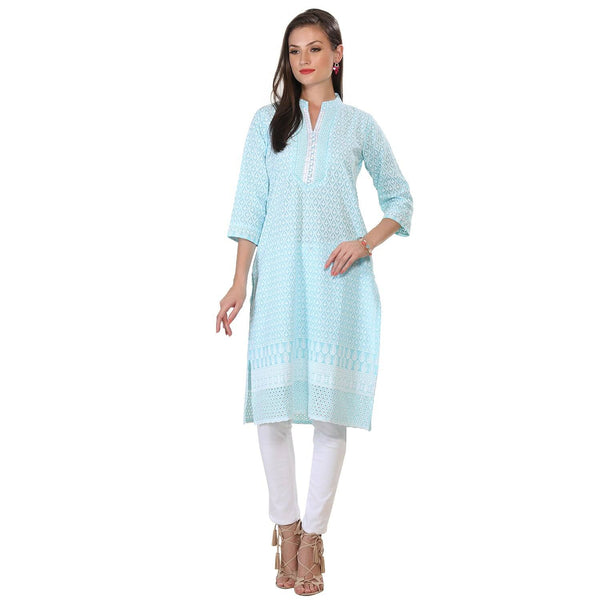 Blue Lucknow Cotton Long Kurti-www.riafashions.com