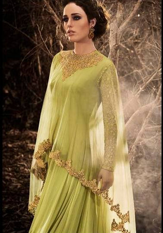 Green floor length suit-www.riafashions.com