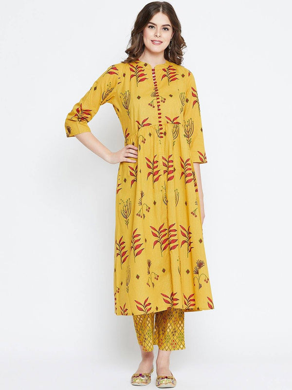 Yellow Printed Kurta With Trousers