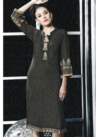 Brown Embroidered Kurti-www.riafashions.com