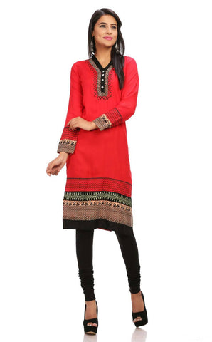 Red Printed Long Kurti-www.riafashions.com