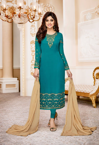 Blue Georgette Embroidered Suit-www.riafashions.com