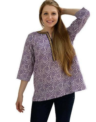 Purple Printed Cotton Short Tunic-www.riafashions.com