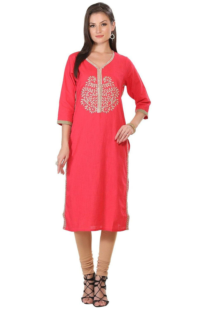 Pink Embroidered Long Cotton Kurta-www.riafashions.com