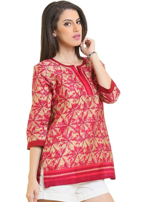 Geometric Pattern Indian Kurti-www.riafashions.com