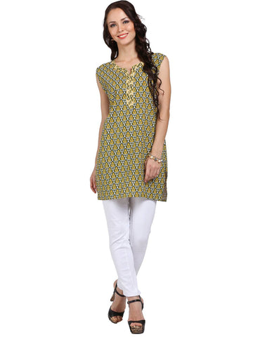 Green Cotton Tunic / Kurti-www.riafashions.com