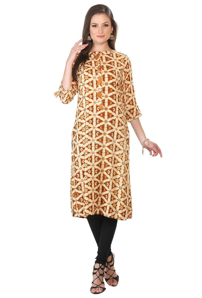 Brown Cotton Geometric Pattern Long Kurta Tunic-www.riafashions.com