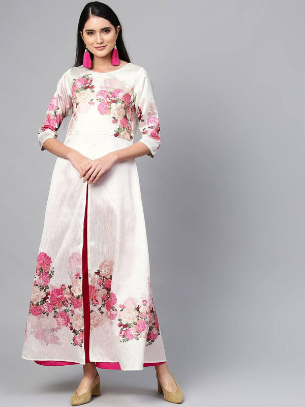 Ready Made Off White & Pink Printed Kurta Palazzzo Set