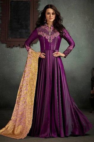 Purple Embroidered Anarkali Suit-www.riafashions.com