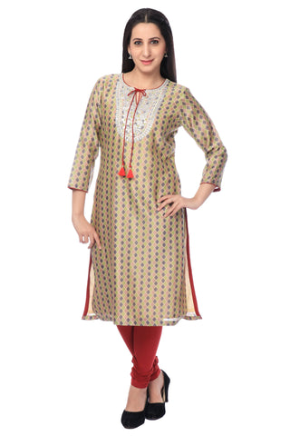 Multicolour Chanderi Embroidered Kurti-www.riafashions.com